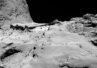 One of Philae's possible landing sites from 30 kilometers out