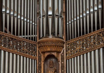 The façade pipes of the Great Organ Diapasons. E.M. Skinner Opus 634 in Rockefeller Memorial Chapel.