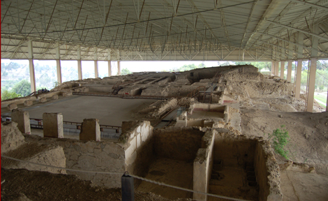Overhead view of the Cacaxtla acropolis