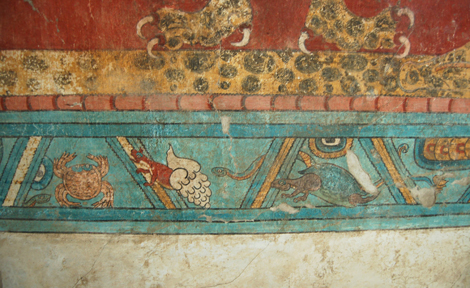 An aquatic border for a mural in the Cacaxtla acropolis