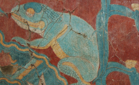 A painting of a blue toad in the Cacaxtla acropolis