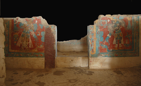 Portico murals in the Cacaxtla acropolis