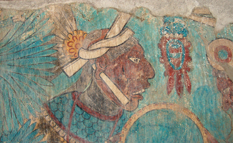 A mural of a warrior in the Cacaxtla acropolis