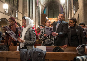 Family at Rockefeller Chapel's MLK Celebration