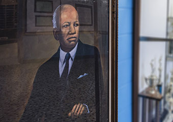 A portrait of Carter G. Woodson, painted by Doninie R. Carter in 1970, hangs in the hallway at Carter G. Woodson South Elementary School