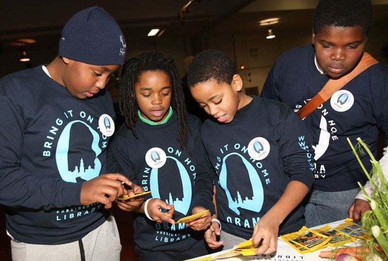 Students at Obama library event