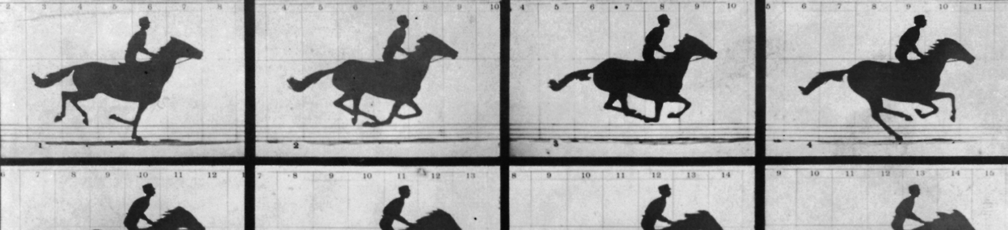 "Created in 1878, the strip of images ""The Horse in Motion"" by Eadweard Muybridge."