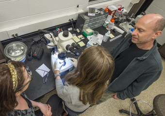Andrew J. Campbell, associate professor mineral physics, cosmochemistry, in his Hinds Lab with grad students Lilly Thomson, left, and Bethany Chidester.