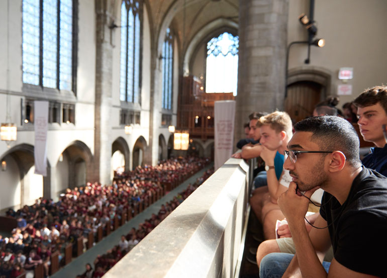 First-year students at Opening Convocation in Rockefeller Chapel