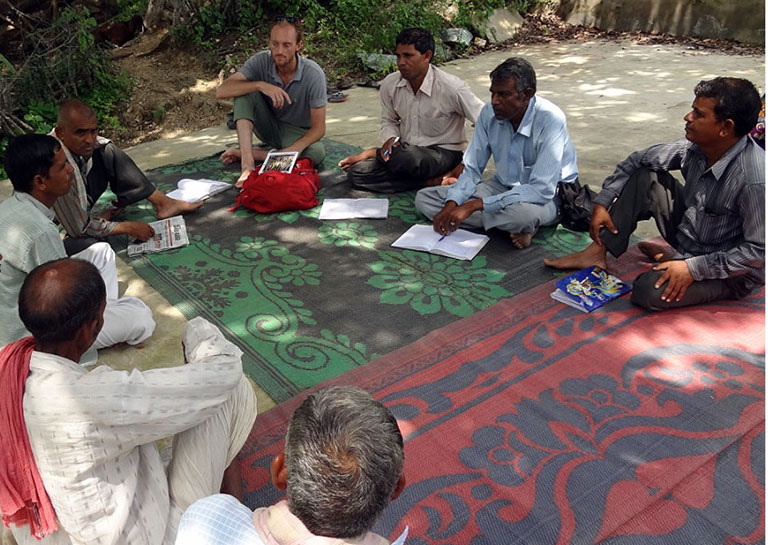 UChicago grad student Drew Kerr in India