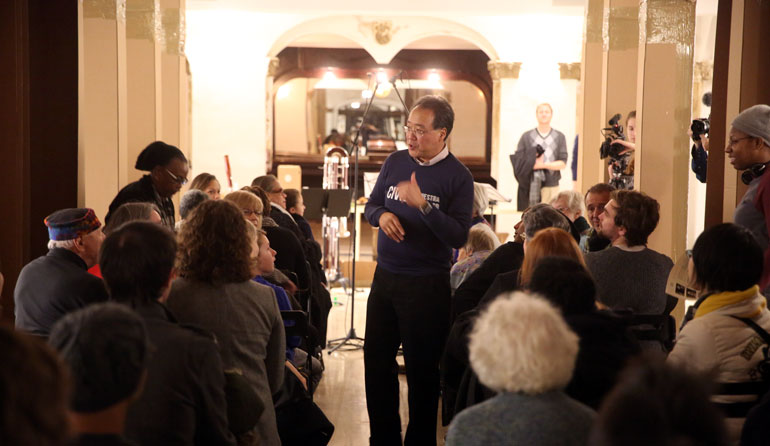 Yo-Yo Ma speaks at Stony Island Arts Bank