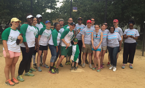 Fellows play softball together
