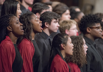 Members of the Chicago Children's Choir perform during the 26th Annual Martin Luther King Jr. Celebration held at Rockefeller Memorial Chapel.