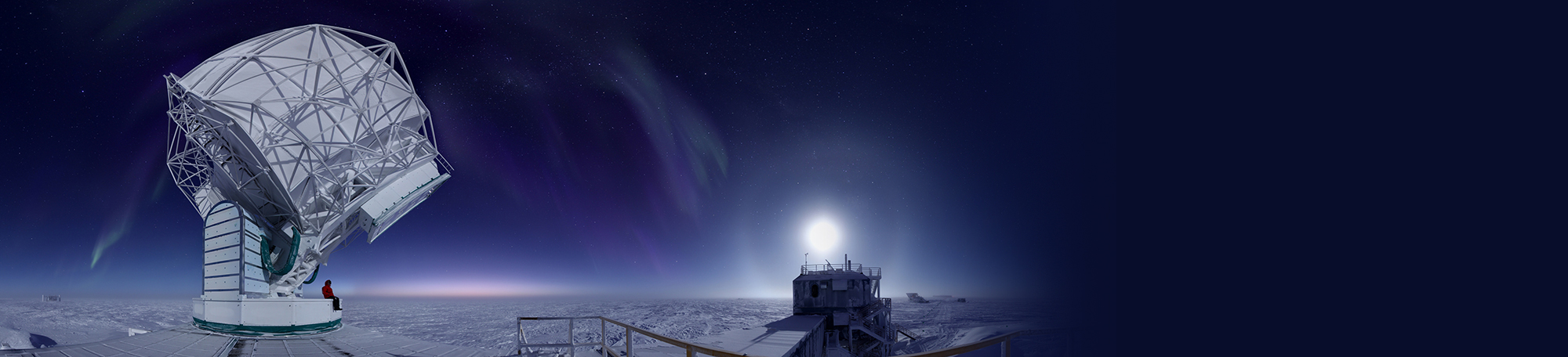 South Pole Telescope at dawn