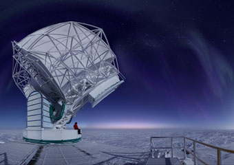 South Pole Telescope at dawn.