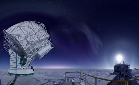 South Pole Telescope at dusk