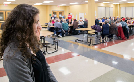 UChicago student Jenny Keroack watches the GOP caucuses