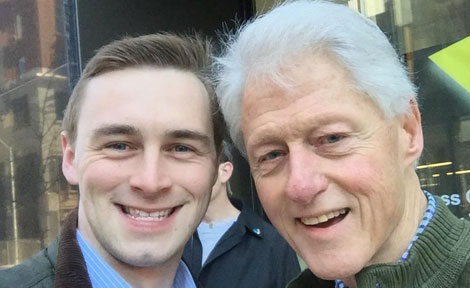 UChicago's Patrick Quinn with President Bill Clinton