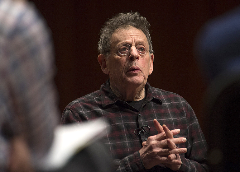 Philip Glass speaks with students during the master class he conducted.