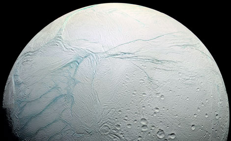 Enceladus surface colorized