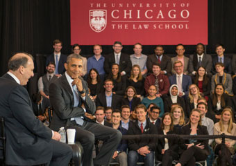 Prof. David Strauss and President Obama at the Law School