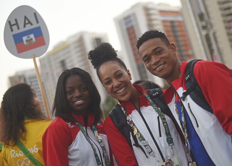 UChicago swimmer Naomy Grand'Pierre with Haitian Olympians
