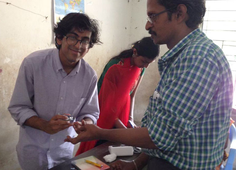 Vivek Ramikrishnan at a health clinic in India