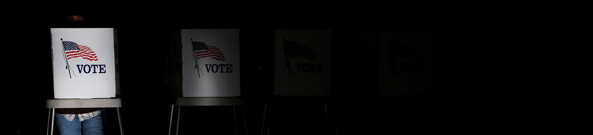 Election voters in booth