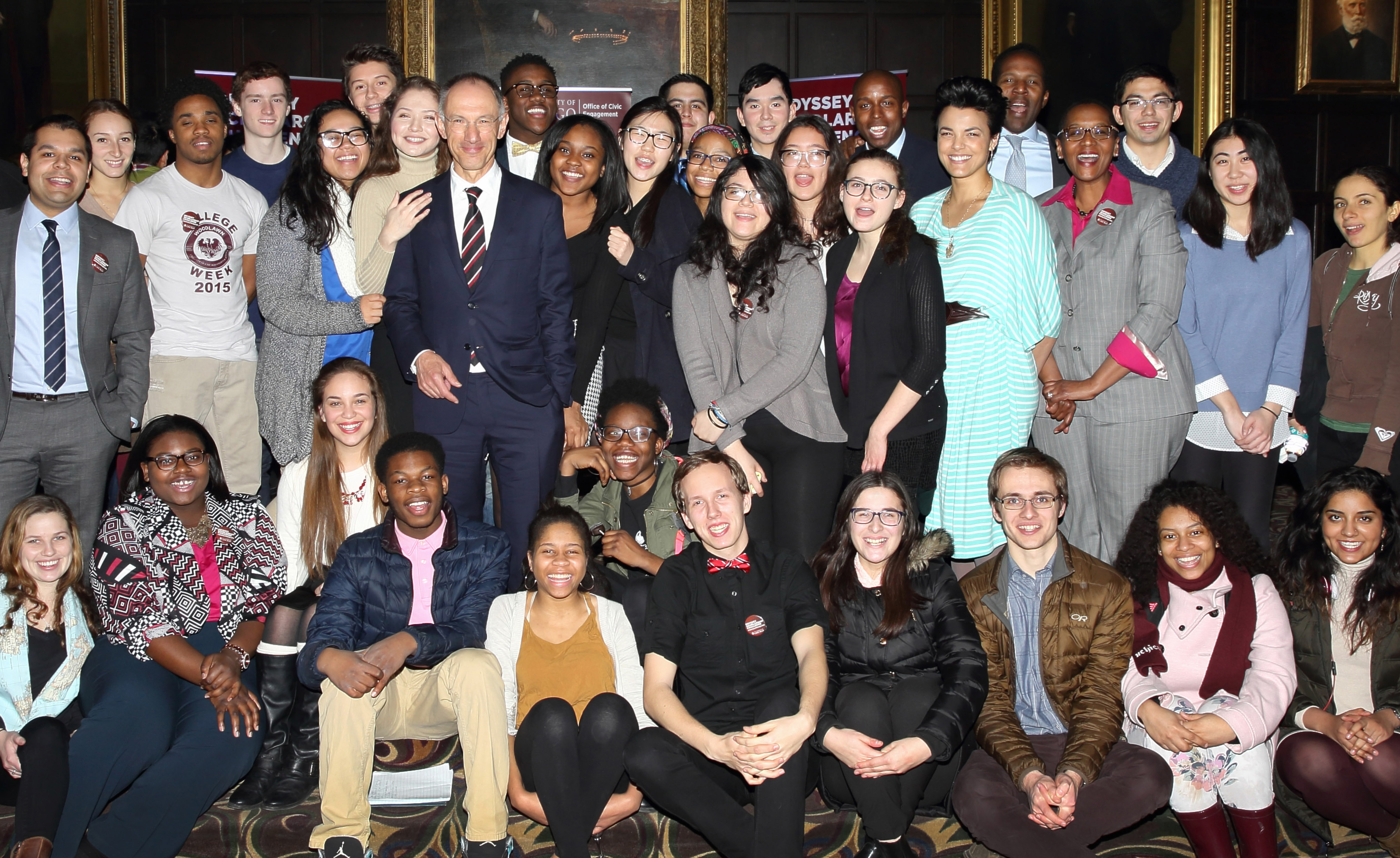 Sir Michael Moritz with students