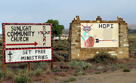 Hopi court and church