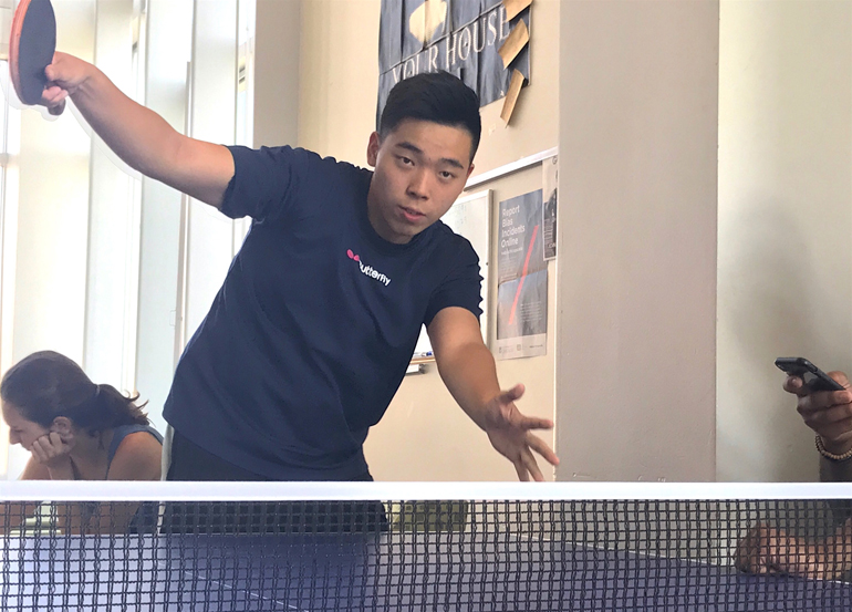 Tim Chen playing table tennis