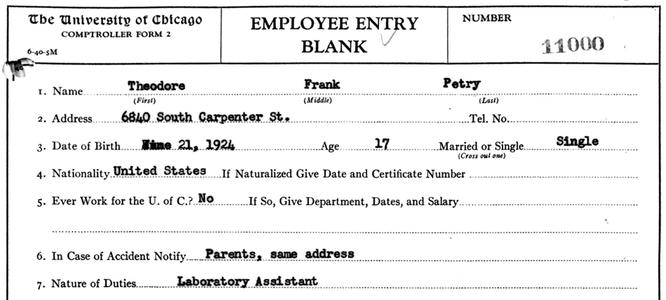Metallurgical Laboratory employment record of Ted Petry