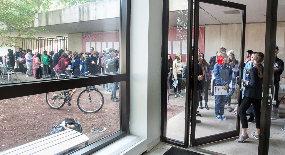Students line up outside Smart