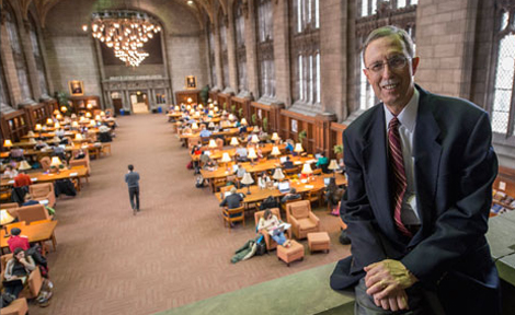 UChicago Dean John Boyer in Harper Memorial Library