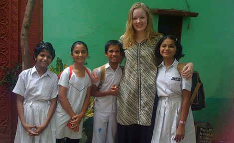 taylor simpson with students in India