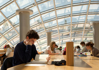 student studying in Mansueto