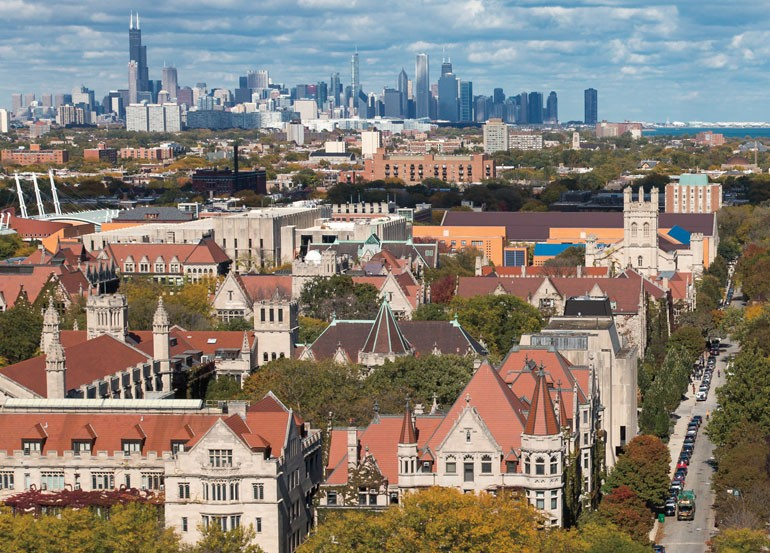 Aerial view of UChicago campus