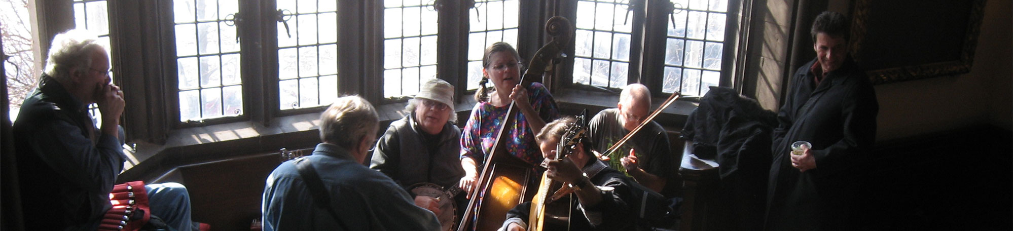 Festival attendees jam at Ida Noyes Hall during the 2008 University of Chicago Folk Festival