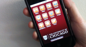cell phone featuring UChicago's app